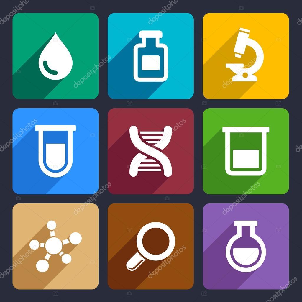 化学平面图标设置针对 web 和移动应用程序 — 矢量图片作者 in8