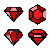 Ruby vector icons set — Stock Vector