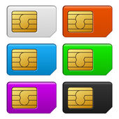 Sim Card Color Set. Vector Illustration — Stok Vektör