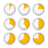 Timer Icons on White Background, Vector Illustration — Stock Vector