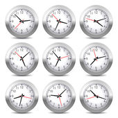 Wall Clock Set on White Background. Vector. — Stock Vector