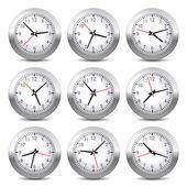 Wall Clock Set on White Background. Vector. — Vector de stock