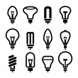 Light bulbs. Bulb icon set 2. Vector — Wektor stockowy