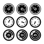 Dial and Timers Icons Set. Vector — Stock Vector