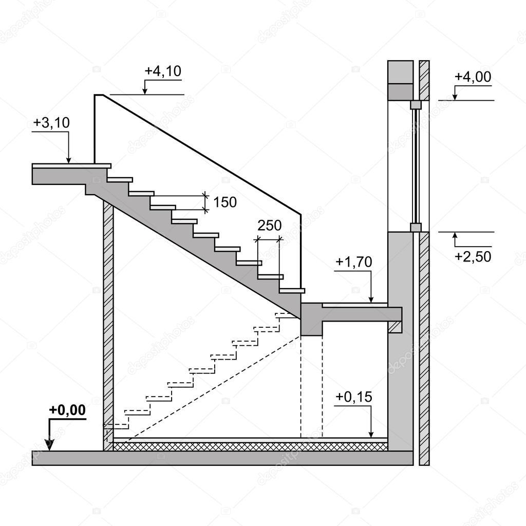 Beyaz Zemin 252 Zerinde Taslak Proje Merdiven Vekt 246 R Stok