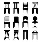 Old, Modern, Office and Bar Chairs Set. Vector — Stock Vector