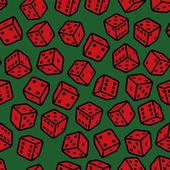 Красный азартные игры кубики бесшовный узор на зеленом фоне. вектор — Cтоковый вектор