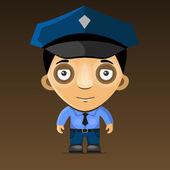 卡通警察在深色背景上。矢量 — 图库矢量图片