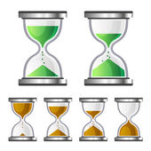 Sand Clock Glass Timer Icons on White Background. Vector — Stock Vector