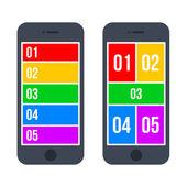 Infographic Smartphone Concept in Flat Style. Vector — Vector de stock