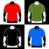 Blank Color T-shirt Men Body Silhouette. Vector — Stock Vector