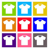 T-shirt sign icon. Clothes symbol. Round colourful buttons. Vector — Vector de stock