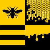 Bee Honeycells and Honey Patterns Set. Vector — Stock Vector