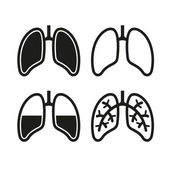Human Lung Icons Set — Stock Vector
