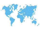 Dotted Blue World Map Isolated on White. Vector — Vector de stock