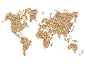 Dotted Brown World Map Isolated on White. Vector — Stock vektor