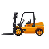 Yellow Forklift Loader Truck Isolated on White Background. Vector — Vector de stock