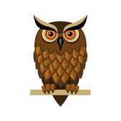Owl Isolated on White. Vector — Stock Vector