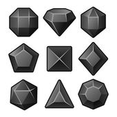 Set of Black Gems for Match3 Games. Vector — Stock vektor