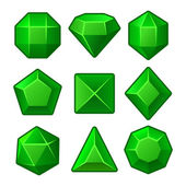 Set of Green Gems for Match3 Games. Vector — Vector de stock