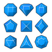Set of Blue Gems for Match3 Games. Vector — Vector de stock