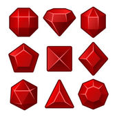 Set of Red Gems for Match3 Games. Vector — Vector de stock