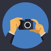 Digital Photo Camera with Hands in Flat Retro Style. Vector — Stock Vector