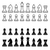 Chess Pieces Silhouette - Black and White Set. Vector — Stockvektor