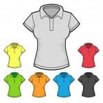 Womens Polo T-shirt Design Template Color Set. Vector — Stock Vector #50169683