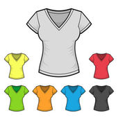 Womens V-neck T-shirt Design Template Color Set. Vector — Stock Vector