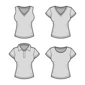 Vector. Womens T-shirt Design Template Set. Vector — Vector de stock