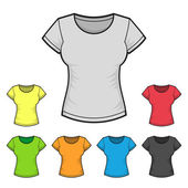 Womens T-shirt Design Template Color Set. Vector — 图库矢量图片