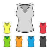 Womens V-neck Shirt Design Template Color Set. Vector — Vetorial Stock