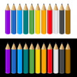 Set of Color Pencils on White and Black Background. Vector — Stock Vector #50878275