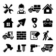 Construction Icons Set on White Background. Vector — Stock Vector