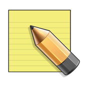 Yellow Paper and Pencil. Vector — Stock Vector