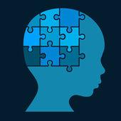 Color Puzzle Human Head Silhouette. Vector — Vector de stock