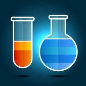 Utbildning kemi tema infographic med kolvar. vektor — Stockvektor