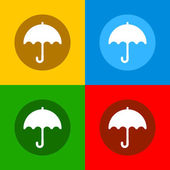 Color Umbrella Icons Set in Flat Design Style. Vector — Stock Vector