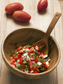 Bowl of fresh salsa — Stock Photo