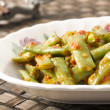 Long beans in chili shrimp paste — Stock Photo