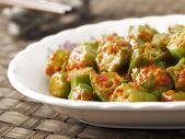 Okra in chili shrimp paste — Stock Photo