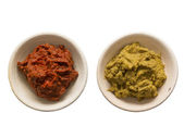 Indian red and yellow curry paste — Stock Photo