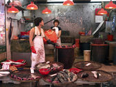 Hongkong mongkok wet market fishmongers — Stock Photo