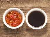 Red chili and soy sauce — Stock Photo