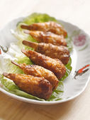 Vegetarian mock chicken drumsticks — Stock Photo