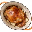 Golden roasted chicken — Stok fotoğraf