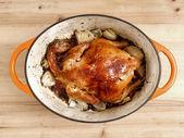 Golden roasted chicken — Stock Photo