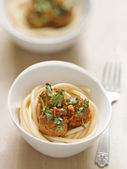 Meatball spaghetti — Stock Photo