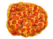 Vegetarian red cherry tomato pizza — Stock Photo